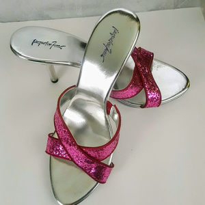 Jacqueline Ferrar Pink Glitter Clear Sandals 9 1/2